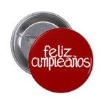 Botón del blanco de Feliz Cumpleaños Pin Redondo De 2 Pulgadas