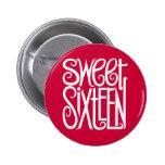 Botón del blanco del dulce dieciséis pin