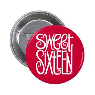 Botón del blanco del dulce dieciséis pin redondo de 2 pulgadas