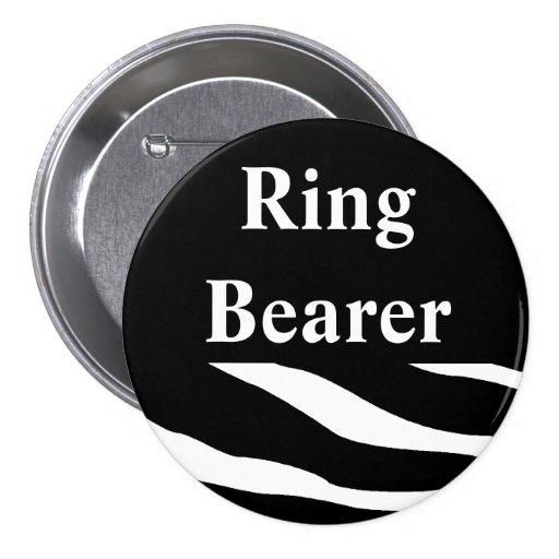 Botón del boda de la cebra del portador de anillo pin