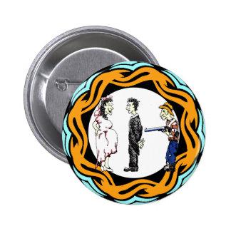 Botón del boda de la familia pin redondo de 2 pulgadas