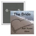 Botón del boda de playa de la novia pins