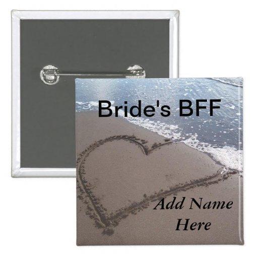 Botón del boda de playa de las novias BFF Pin