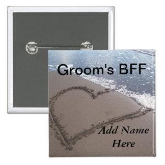 Botón del boda de playa de los novios BFF Pin Cuadrado
