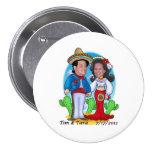 Botón del boda de Tara y de Tim Pin