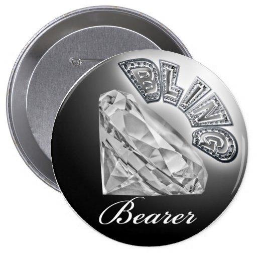 Botón del boda del portador de BLING Pins