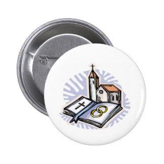 Botón del boda pin redondo de 2 pulgadas