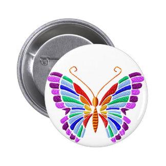 Botón del Bordado-Estilo de la mariposa del arco Pin Redondo De 2 Pulgadas