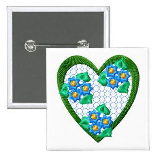 Botón del Bordado-Estilo del corazón de las flores Pin Cuadrado