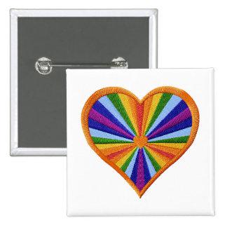 Botón del Bordado-Estilo del corazón del arco iris Pin Cuadrado