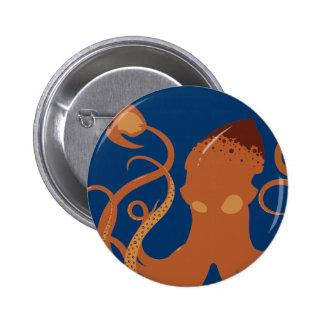 Botón del calamar gigante del vector pin redondo de 2 pulgadas