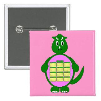 Botón del calendario del dinosaurio verde 2011 pins