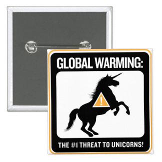 Botón del calentamiento del planeta pin cuadrado
