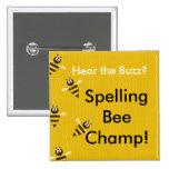 Botón del campeón del concurso de ortografía pin