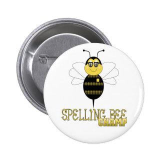Botón del campeón del concurso de ortografía pin redondo de 2 pulgadas