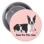 Botón del cáncer de pecho de Boston Terrier Pins