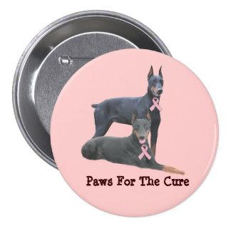 Botón del cáncer de pecho del Doberman Pin