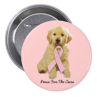 Botón del cáncer de pecho del golden retriever pins