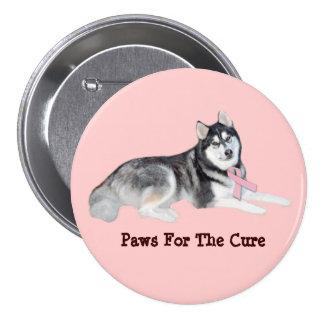 Botón del cáncer de pecho del husky siberiano pins