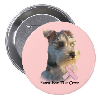 Botón del cáncer de pecho del Schnauzer miniatura Pins