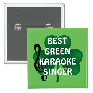 Botón del cantante del Karaoke del día de St Pin Cuadrado