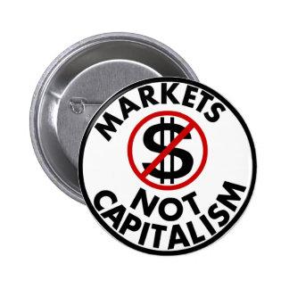 Botón del capitalismo de los mercados no pin redondo de 2 pulgadas