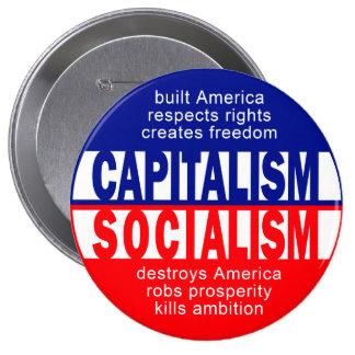 Botón del capitalismo pin redondo de 4 pulgadas