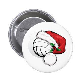 Botón del casquillo de Santa del voleibol Pin Redondo De 2 Pulgadas