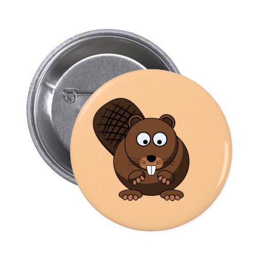 Botón del castor del dibujo animado pin