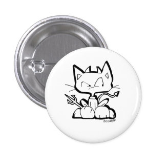 Botón del CAT del DIABLO de Chris Desatoff Pin Redondo De 1 Pulgada