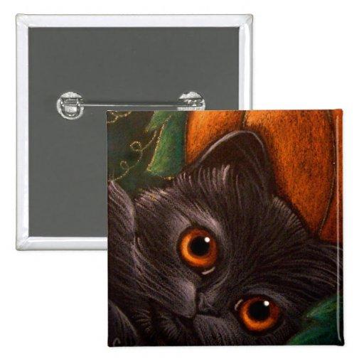 Botón del CAT NEGRO HALLOWEEN de la FANTASÍA Pin
