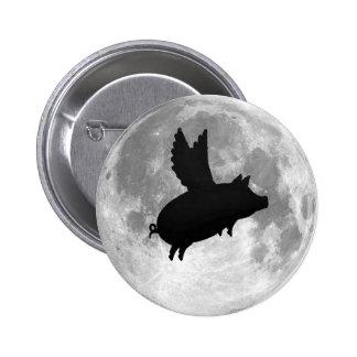 botón del cerdo del vuelo de la Luna Llena Pin Redondo De 2 Pulgadas