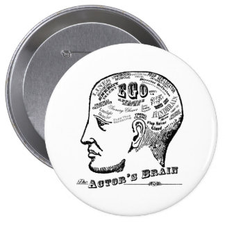 Botón del cerebro del actor pin redondo de 4 pulgadas