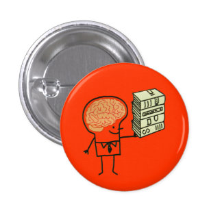 Botón del cerebro del libro pin redondo de 1 pulgada