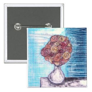 """""""Botón del chapoteo de la flor"""" Pin Cuadrada 5 Cm"""
