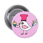 Botón del chef de repostería del pájaro pin