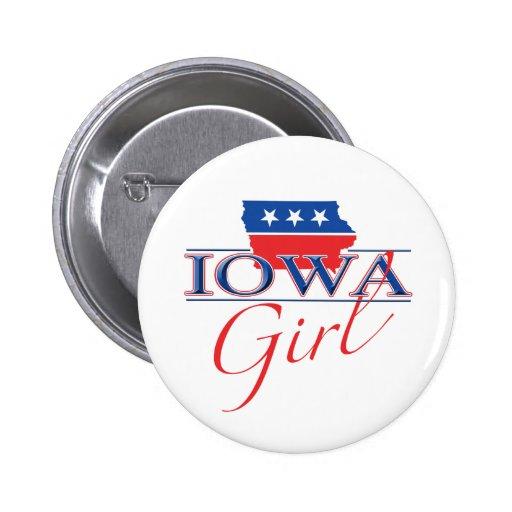 Botón del chica de Iowa Pin