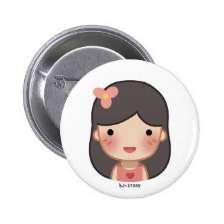 Botón del chica de la HJ-Historia Pin Redondo De 2 Pulgadas