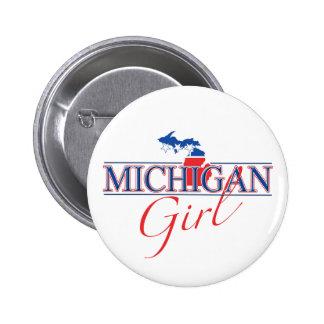 Botón del chica de Michigan Pin Redondo De 2 Pulgadas