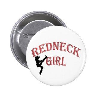 Botón del chica del campesino sureño pin redondo de 2 pulgadas