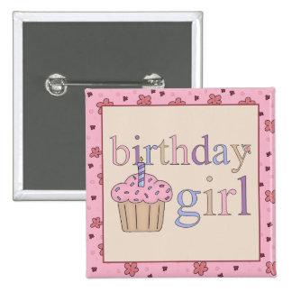 Botón del chica del cumpleaños pin cuadrado