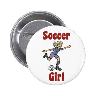 Botón del chica del fútbol pin redondo de 2 pulgadas