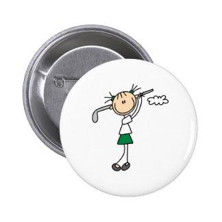 Botón del chica del golf pin redondo de 2 pulgadas