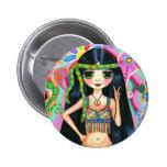 Botón del chica del Hippie del signo de la paz Pin