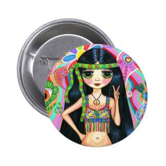 Botón del chica del Hippie del signo de la paz Pin Redondo De 2 Pulgadas