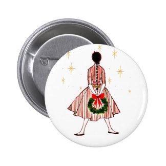 Botón del chica del navidad del vintage 50s pin redondo de 2 pulgadas