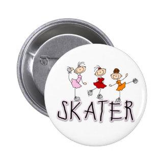 Botón del chica del patinador pins
