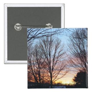 Botón del cielo de diciembre pin cuadrado