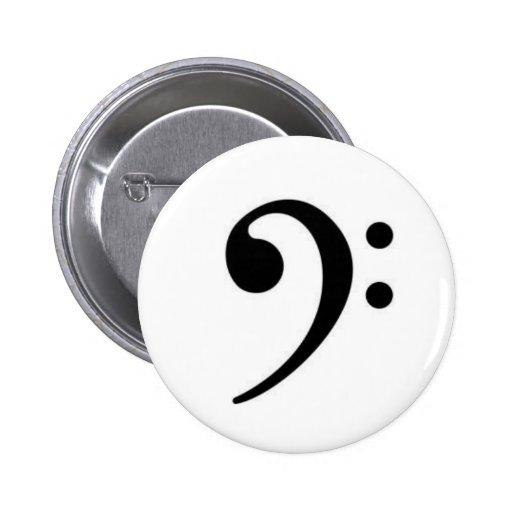 Botón del Clef bajo Pin Redondo De 2 Pulgadas