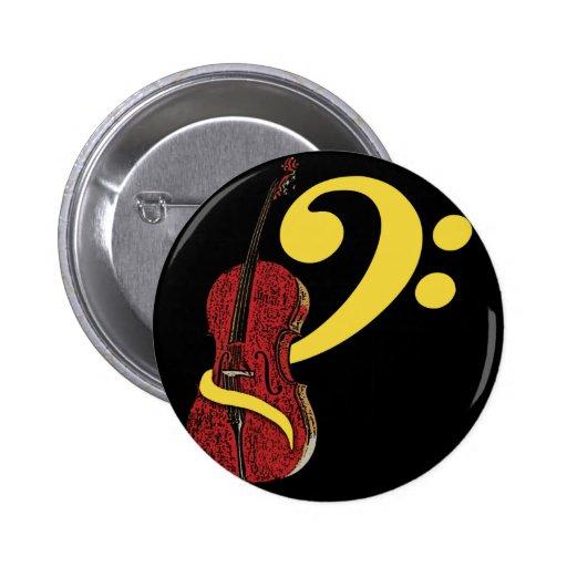 Botón del Clef del violoncelo Pin Redondo De 2 Pulgadas
